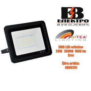 SMD LED reflektor 20W 3000K 1600lm Crni Mitea