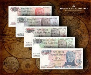 Argentina UNC SET 1+5+10+50+100 Pesos