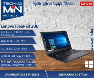 Lenovo 300, i3 6100U 2.3/8/240SSD/DVD-RW/WEBCAM/FHD