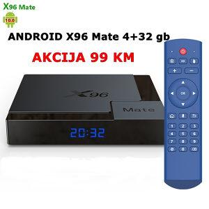 AKCIJA, Android box 10, X96 Mate 4+32gb, Model 2021