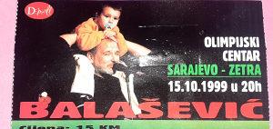 Original ulaznica na koncert pok. Balaševića u Zetri.