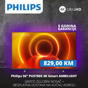 "TV PHILIPS SMART 4K LED 50"" 50PUS7805/12 Ambilight"