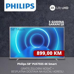 "TV PHILIPS SMART 4K LED 58"" 58PUS7555/12"