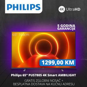 "TV PHILIPS SMART 4K LED 65"" 65PUS7805/12 Ambilight"