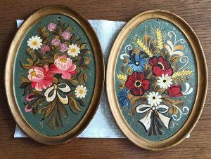 Dvije slike cvijeće - uljane boje na šperi slika