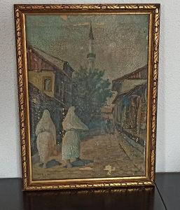Slika ulje na  platnu  Alija Ramović carsija -Sarajevo