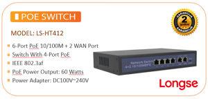 POE SWITCH 6-PORT 4-PORT POE 10/100MB LS-HT412