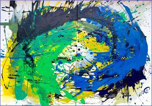 Slika 'SUČELJAVANJE' 70 x 100 cm akril na platnu