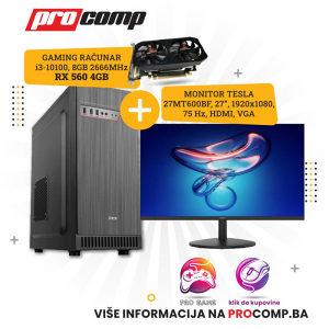 GAMING RAČUNAR I3-10100F, 8GB,RX 560 4GB + MONITOR