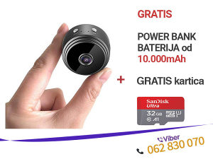 Špijunska WiFi mini kamera + 32GB kartica i POWER BANK