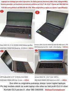 """Laptop 180-250km,i3,i5,13,3""""-15,6"""" 4-8GB,HDD 500-1TB"""