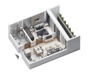 Apartman 37m2 sa jednom spavaćom i velikim balkonom