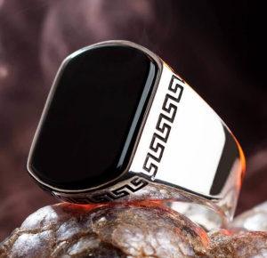 Muski prsten SREBRO Oniks