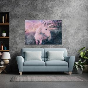 Canvas slika - Ružičasti jednorog, Duga, Šuma, Bajka