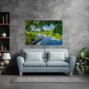 Canvas slika - Stari čamac na rijeci, odraz neba