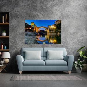 Canvas slika - Stari most, Mostar, Odraz, Neretva, BA