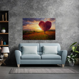 Canvas slika - Crveno drvo u obliku srca, Zalazak sunca