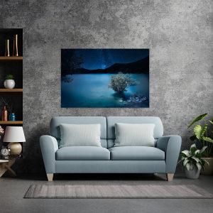 Canvas slika - Mliječni put iznad jezera, Plava noć