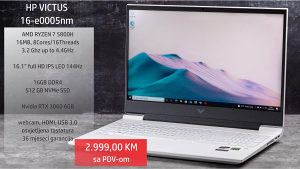 "VICTUS by HP 16.1"", R7 5800H, 16GB, 512GB, RTX 3060"