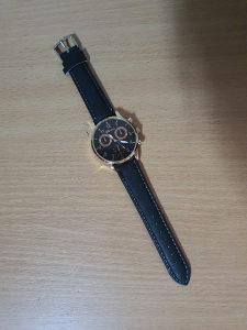 Muški crni ručni sat za posla kožna narukvica moderan
